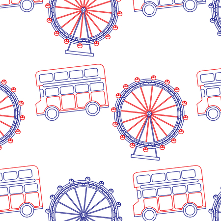 double decker bus and eye london united kingdom pattern image vector illustrationd design  blue red line Illustration