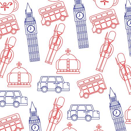 bewaker Big Ben dubbeldekker bus kroon Londen Verenigd Koninkrijk patroon afbeelding vector illustrationd ontwerp blauw rode lijn Stock Illustratie