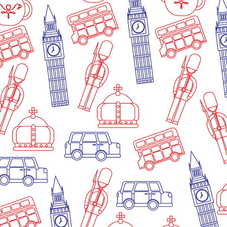 guard big ben double decker bus crown london united kingdom pattern image vector illustrationd design  blue red line Illustration
