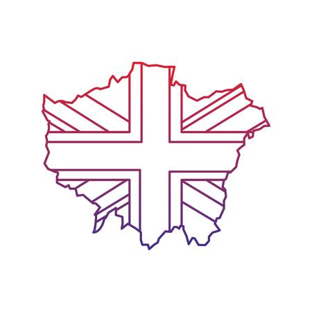 Bandera y mapa del icono de Londres Reino Unido imagen vector illustrationd diseño línea del ombre rojo a azul Foto de archivo - 92103029