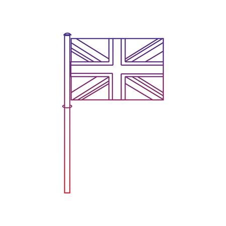 플래그 영국 왕국 아이콘 이미지 벡터 illustrationd 디자인 빨간색에서 파란색 ombre 라인