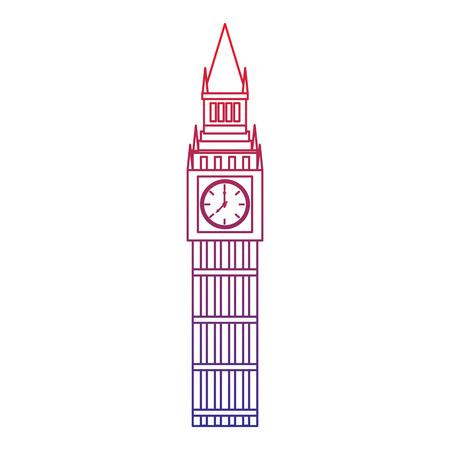 큰 벤 런던 영국 아이콘 이미지 벡터 illustrationd 디자인 빨간색 파란색 ombre 라인