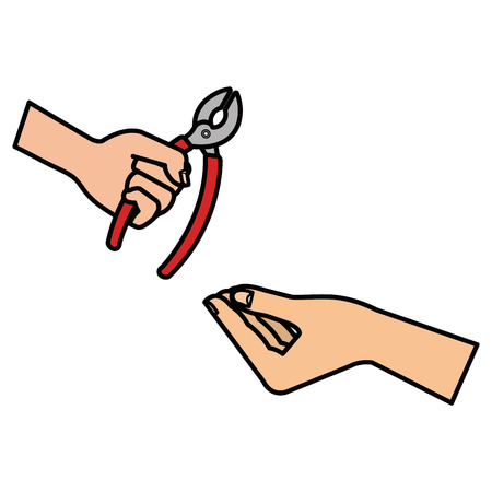 hands with pliers tool isolated icon vector illustration design