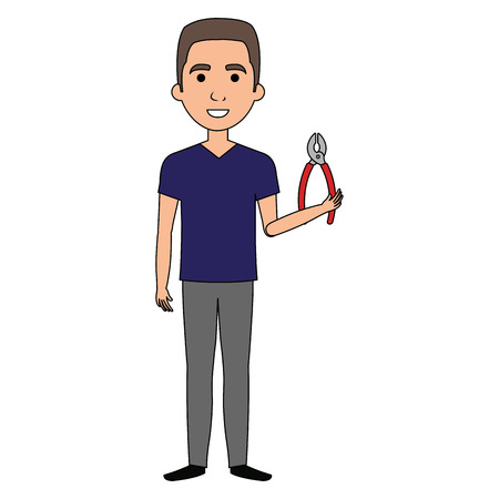 man with pliers tool isolated icon vector illustration design