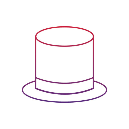 top hat icon image vector illustration design  red to blue ombre line