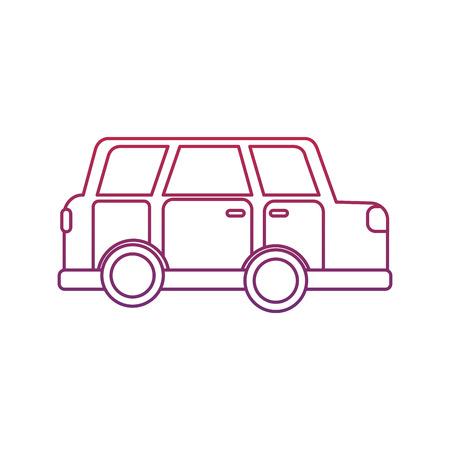 車側図アイコン画像 ベクトル イラストデザイン 赤から青のオンブレライン