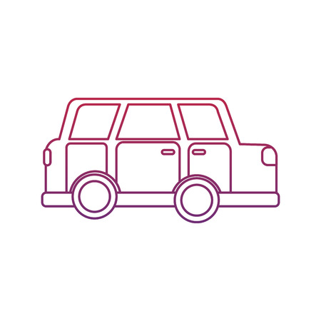 car sideview icon image vector illustration design  red to blue ombre line 向量圖像