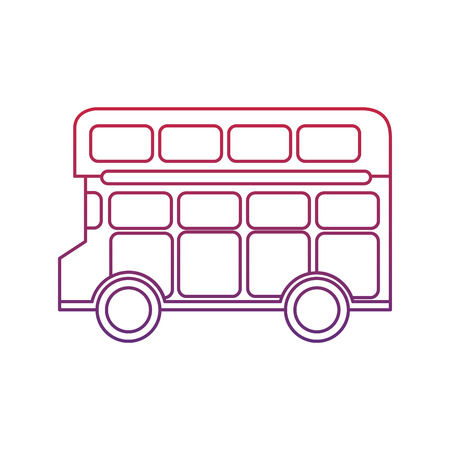 bus double deck icon image vector illustration design  red to blue ombre line Ilustracja