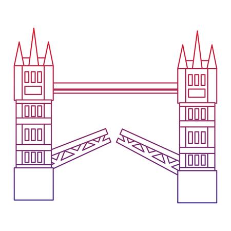 brug londen verenigd koninkrijk pictogram afbeelding vector illustrationd ontwerp rood tot blauw ombre lijn Stock Illustratie