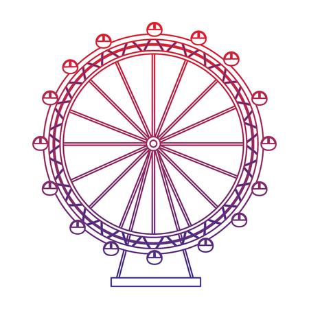 reuzenrad pictogram afbeelding vector illustratie ontwerp rood naar blauw ombre lijn Stock Illustratie