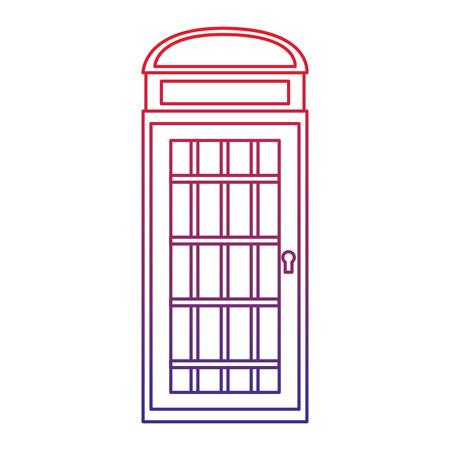 電話ブースアイコン画像ベクトルイラストデザイン赤から青のオンブレライン  イラスト・ベクター素材