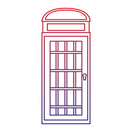 phone booth icon image vector illustration design  red to blue ombre line Illustration
