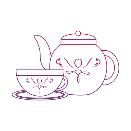 tea cup and kettle icon image vector illustration design  red to blue ombre line