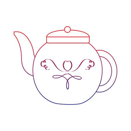 Caldera de té icono de la imagen de la ilustración del vector del vector para la línea de ombre de color azul Foto de archivo - 92103055
