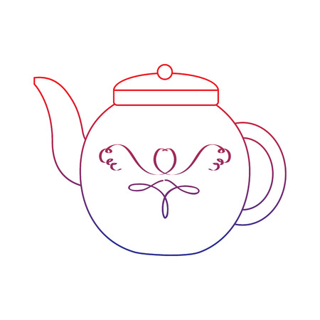 tea kettle icon image vector illustration design  red to blue ombre line