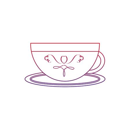 cup or mug icon image vector illustration design  red to blue ombre line Illustration