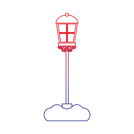 street lamp icon image vector illustration design  red to blue ombre line