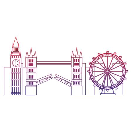 큰 벤 눈 다리 런던 영국 아이콘 이미지 벡터 illustrationd 디자인 빨강에서 파랑 ombre 라인