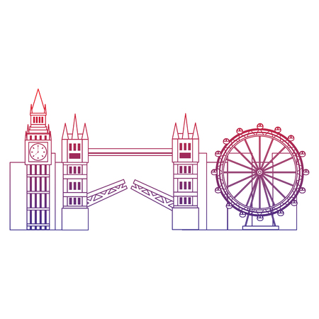 big ben eye bridge london united kingdom icon image vector illustrationd design  red to blue ombre line