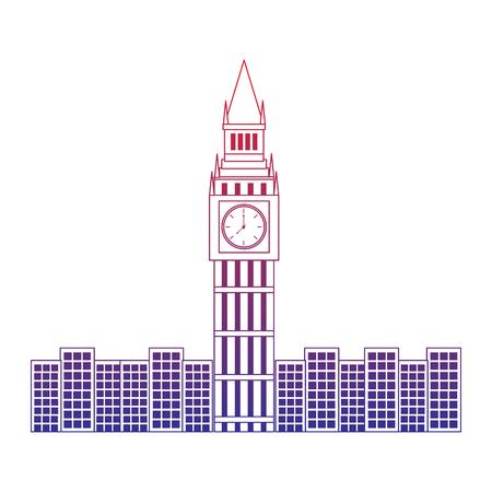 Big Ben Londen Verenigd Koninkrijk pictogram afbeelding vector illustrationd ontwerp rood tot blauw ombre lijn