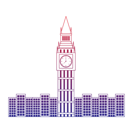 big ben london united kingdom icon image vector illustrationd design  red to blue ombre line