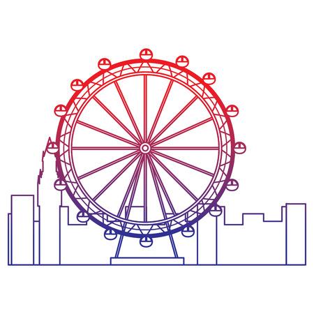 Reuzenrad pictogram afbeelding vector illustratie ontwerp rood tot blauw ombre lijn