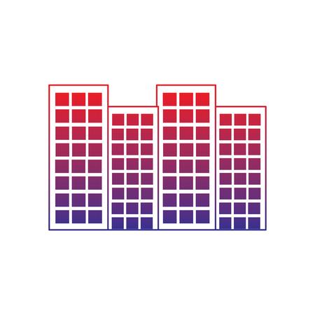 建物都市スカイラインアイコン画像ベクトルイラストデザイン赤から青のオンブレライン