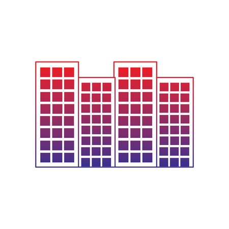 Buildings city skyline icon image vector illustration design red to blue ombre line