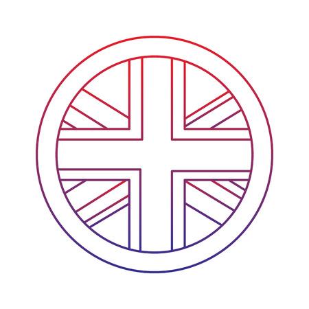 Bandera emblema icono de reino unido vector ilustración vectorial de diseño de la línea de color azul ombre Foto de archivo - 92103116