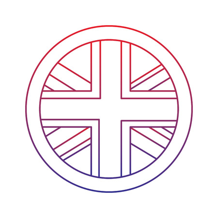 Flag emblem united kingdom icon image vector illustrationd design red to blue ombre line