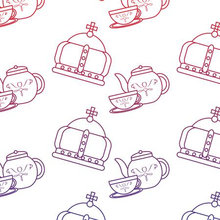 クラウンと紅茶セット イギリスアイコン画像 ベクトル イラストデザイン 赤から青のオンブレライン