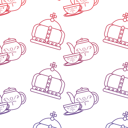 Crown and tea set united kingdom icon image vector illustrationd design red to blue ombre line