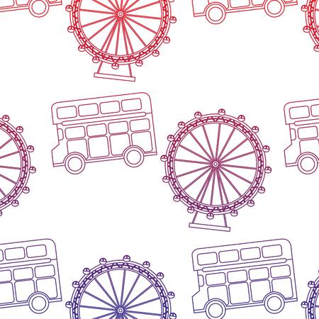 ダブルデッカーバスとアイロンドン英国イギリスパターンイメージベクトルイラストデザイン赤から青のオンブレライン