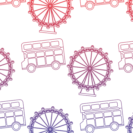 Double decker bus and eye london united kingdom pattern image vector illustrationd design red to blue ombre line