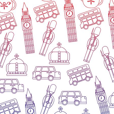 Guard big ben double decker bus crown london united kingdom pattern image vector illustrationd design red to blue ombre line