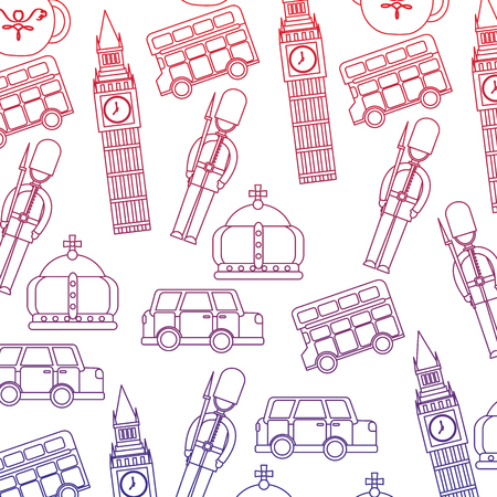 Guard big ben double decker bus crown london united kingdom pattern image vector illustrationd design red to blue ombre line