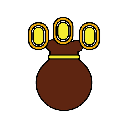 coins or gems with bag video game related icon image vector illustration design