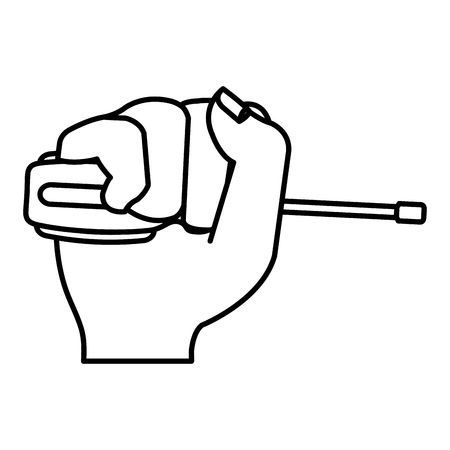 Hand with screwdriver tool isolated icon vector illustration design