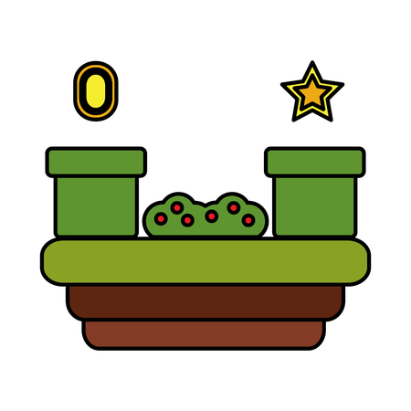 tunnels grass star gem video game related icon image vector illustration design