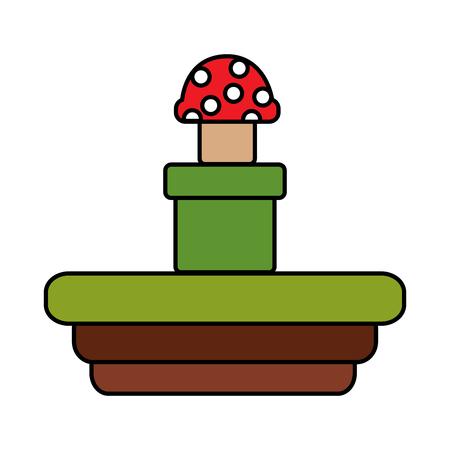 トンネルビデオゲーム関連アイコン画像ベクトルイラストデザインから出てくるキノコ