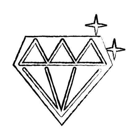 diamond shining icon image vector illustration design  black sketch line Illustration