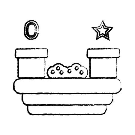 tunnels grass star gem video game related icon image vector illustration design  black sketch line
