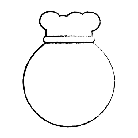 가방 또는 자루 아이콘 이미지 벡터 일러스트 레이 션 디자인 검은 스케치 라인