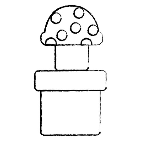 mushroom with dots icon image vector illustration design  black sketch line