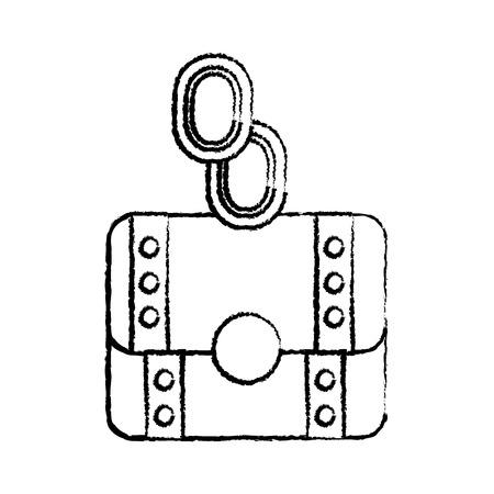 munten of edelstenen met borst video game gerelateerde pictogram afbeelding vector illustratie ontwerp zwarte schets lijn