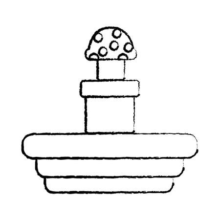 トンネルビデオゲーム関連アイコン画像画像ベクトルイラストデザイン黒スケッチラインから出てくるキノコ