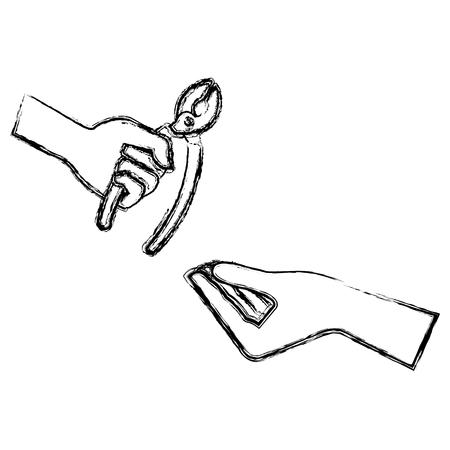 ペンチツールで手を隔離アイコンベクトルイラストデザイン  イラスト・ベクター素材