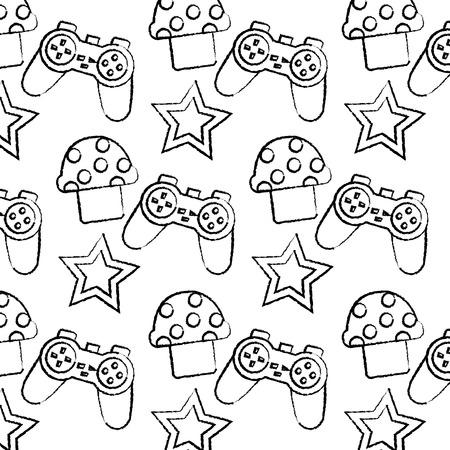 controller mushroom star video game related icon image vector illustration design  black sketch line