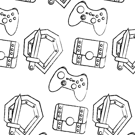 shield sword controller chest video game related icon image vector illustration design  black sketch line