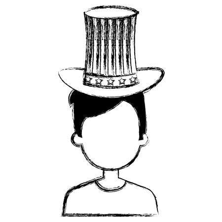 man with USA hat vector illustration design Stock Vector - 92103622